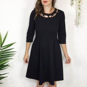 DONNA MORGAN dress laced grommet inset 0570